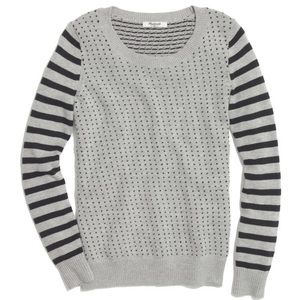 Madewell Striped Birds Eye Gray Pullover Sweater